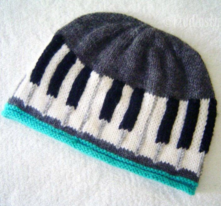 Knitting Pattern for Keyboard Hat - Pattern for the Beethoven Hat includes baby and adult sizes. For the piano, keyboard and music lovers in your life.