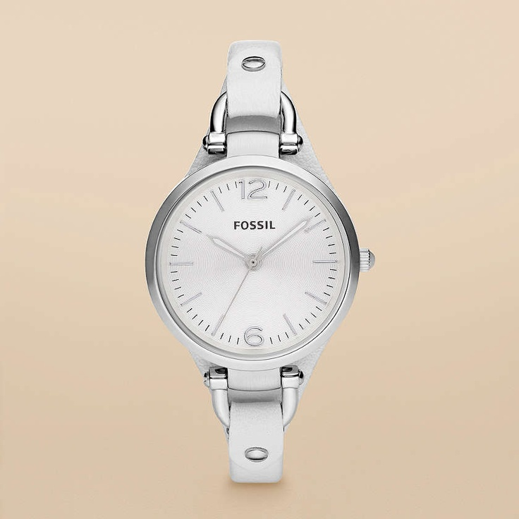 Fossil Georgia Leather Watch - White