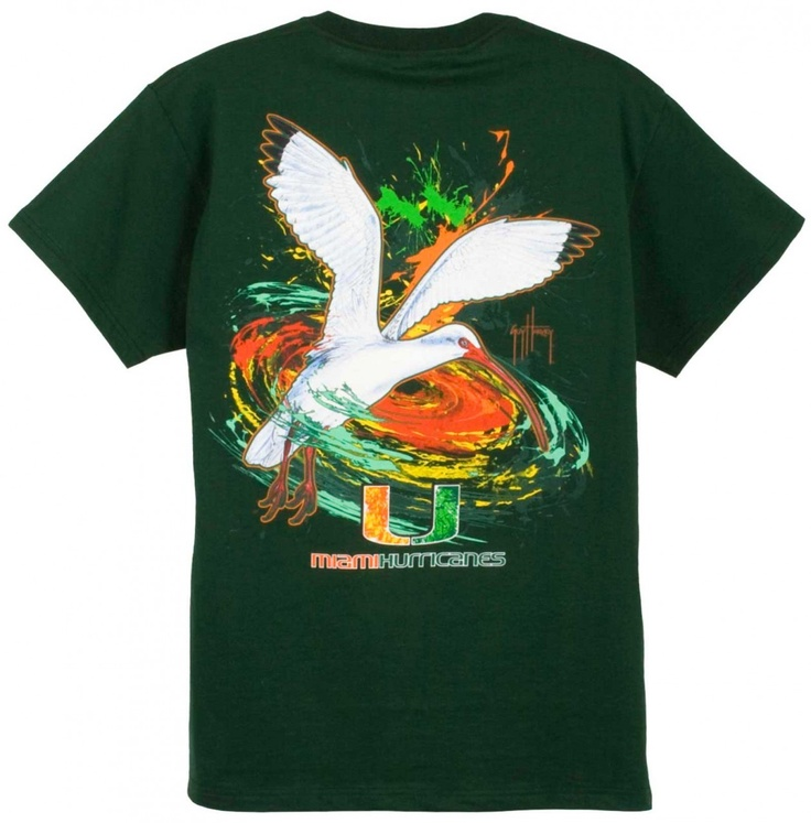 Guy Harvey Shirts - Guy Harvey University of Miami Hurricanes Back-Print Pocketless Tee in Green or White, $23.95 (http://www.guyharveyshirts.com/guy-harvey-university-of-miami-hurricanes-back-print-pocketless-tee-in-athletic-heather-black-or-garnet/)