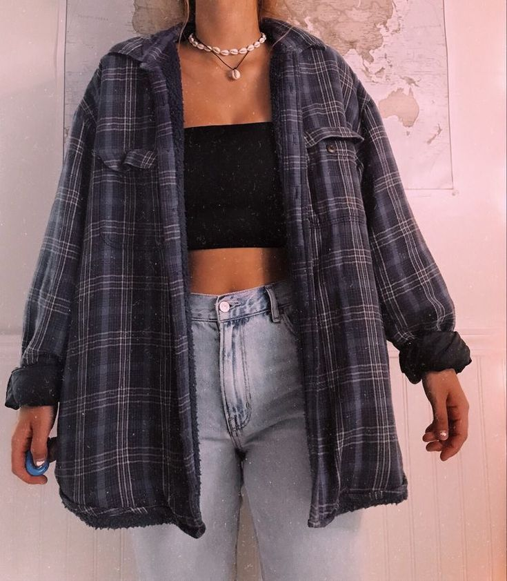 boyfriend check shirt tomboy outfit idea  retro outfits