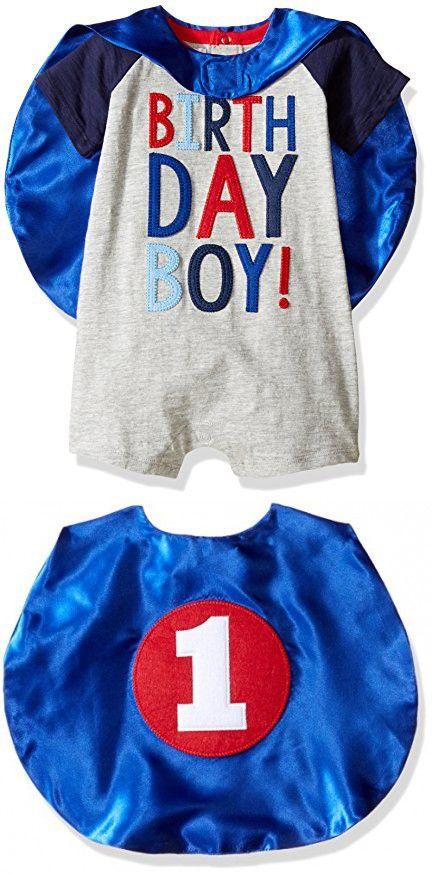 Mud Pie Baby Boys' Birthday Cape One Piece Raglan Slub, Multi, 12-18 Months