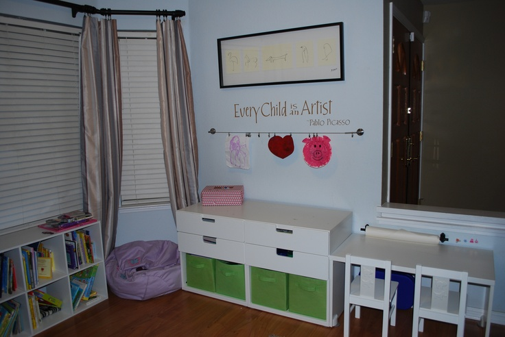 turned our virtually unused dining room into an office art playroom