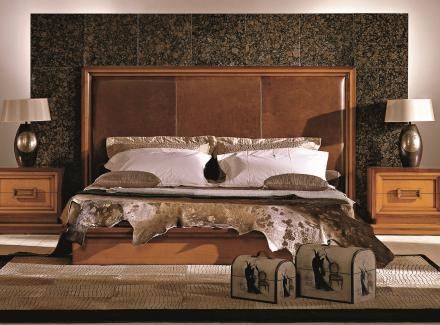 Bakokko classic wood bed with padded headboard
