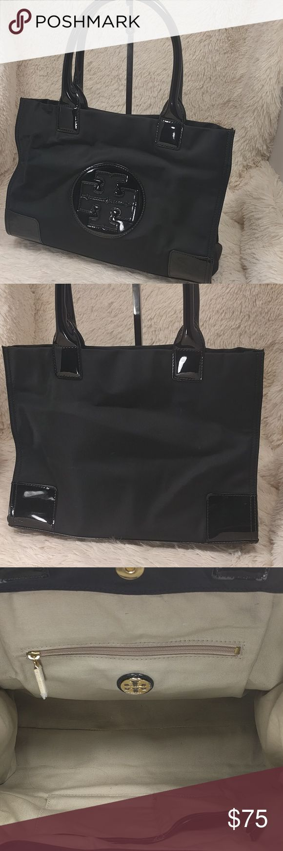 Tory Burch Mini Nylon Ella Tote Black nylon and patent leather with gold hardware.  This one must have been a demo unit because the factory film is still on the interior logo and zipper pull.  Very light signs of use at the corners(minor scratches) and there are a couple very small spots on the back (tough to see-should clean up with some dish soap) and the handles have lost some PVC (where the handles meet-see pic 4).  I would rate 8/10 and still very much carryable to work, school, or…