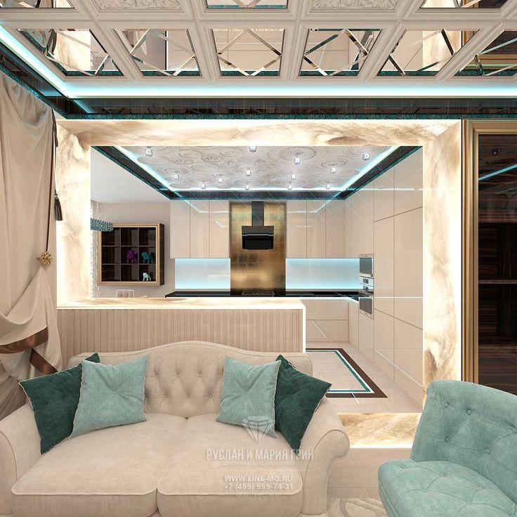 Дизайн светлой гостиной с кухней http://www.line-mg.ru/dizayn-kvartiry-zhk-dolina-setun