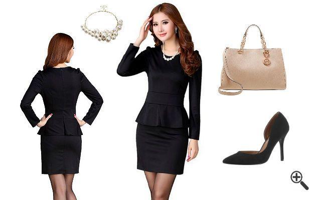 Schößchen Kleider + 3 Outfits für... http://www.fancybeast.de/schoesschen-kleid-schwarz-langarm-schoene-outfits/ #SchößchenKleider #Schößchen #Kleider #Dress #Outfit #Cocktailkleider #Dresses Schöne Outfits Schößchen Kleid Schwarz Langarm