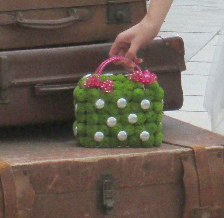'Handbag' bouquet of green , button chrysanthemums