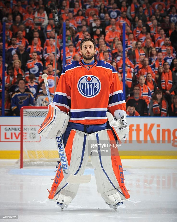 Cam Talbot #33 of the Edmonton Oilers stands for the sing of national anthem prior to a game against the St. Louis Blues on October 15, 2015 at Rexall Place in Edmonton, Alberta, Canada.