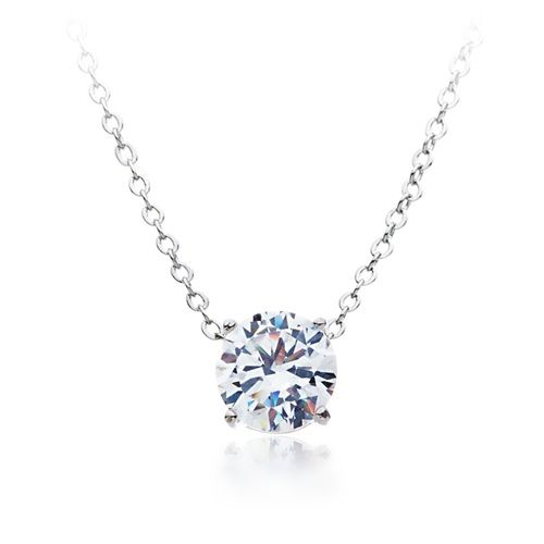 Simplicity Solitaire Stud Clear Cubic Zirconia Necklace