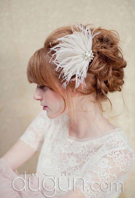 Tüylü Tokalı Gelin Saçı Modelleri - Gelin Saçı Modelleri