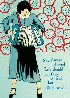 She always believed Life Should not Only be lived - but Celebrated.Celebrities Life, A Christmas Story, Accordion Art, Amy Rice, Seeking Amy, Greeting Cards, Accordion Music, Rice Art, A Christmas Stories