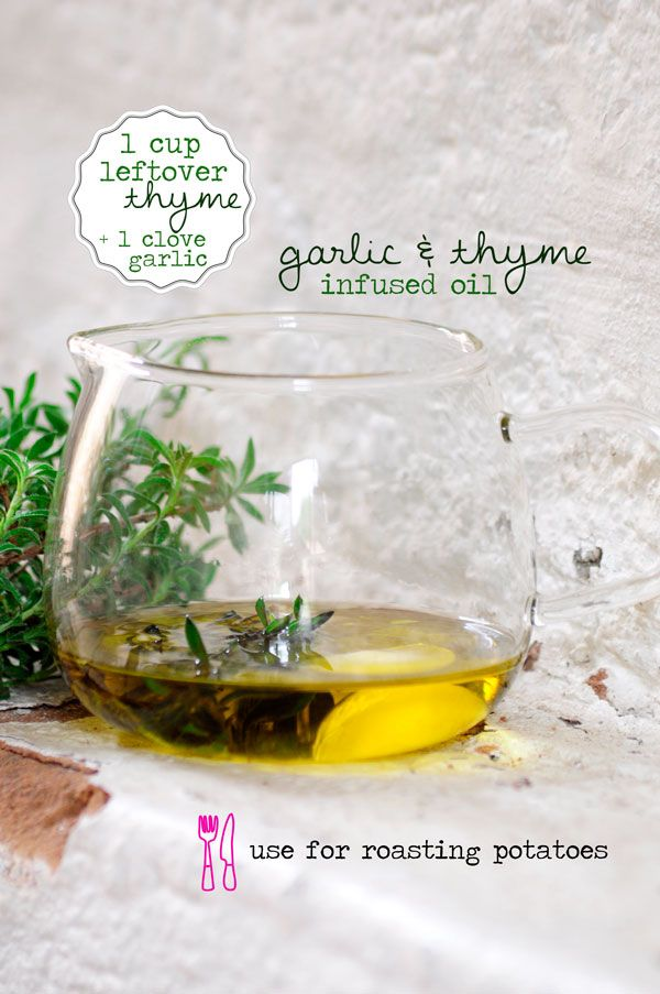 Use leftover thyme, 1 clove of garlic and make a quick herb infused oil.  Delicious for cooking!