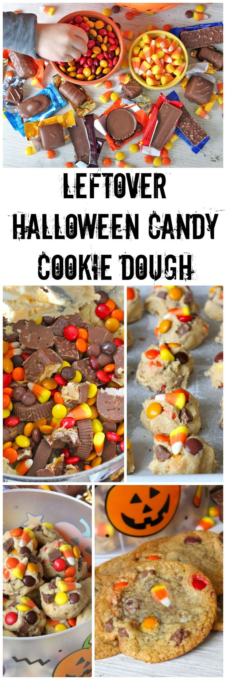 Leftover Halloween Candy Cookie Dough - mix your leftover Halloween candy into a cookie dough that can be frozen and then baked whenever you're craving a warm and yummy cookie!