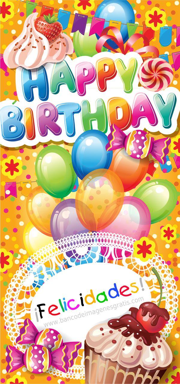 """Postal de cumpleaños con mensaje """"Happy Birthday"""" y """"Felicidades""""   Banco de Imágenes (shared via SlingPic)"""