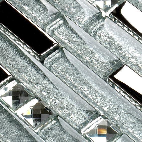 Silver Glass Linear Backsplash Tile With Rhinestone Etsy Glass Backsplash Glass Mosaic Tile Backsplash Glass Tile Backsplash