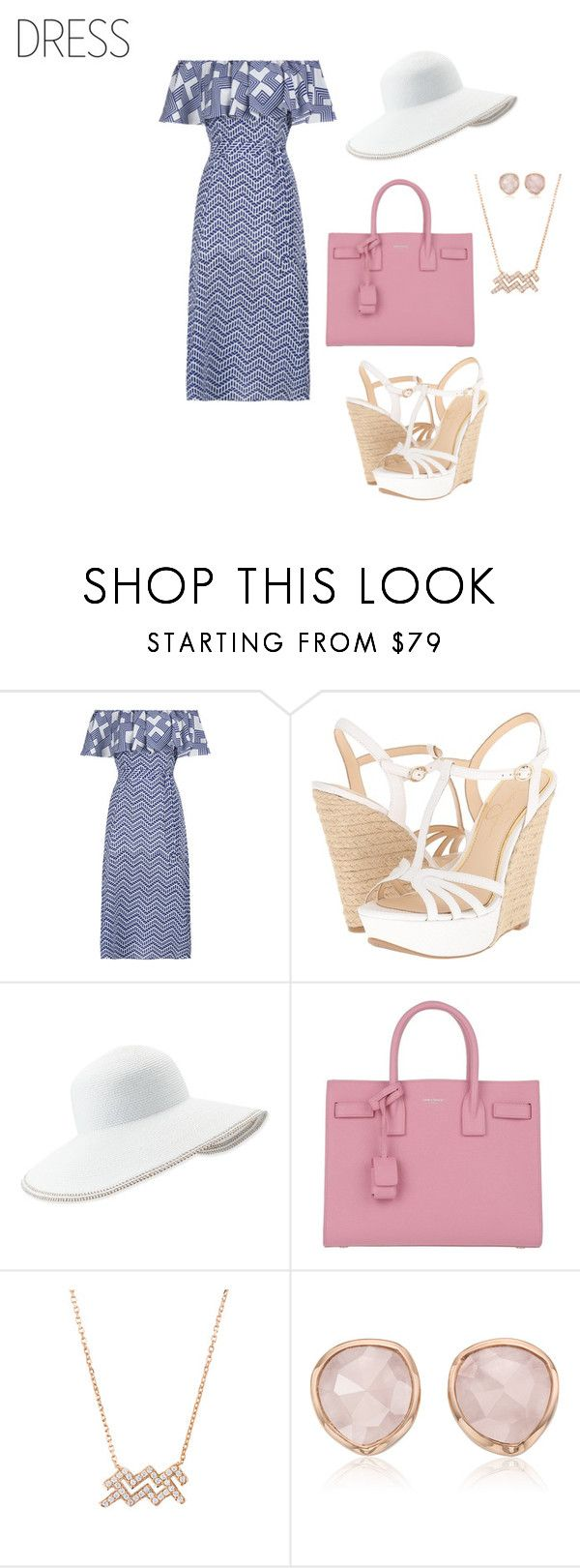 """""""Untitled #1857"""" by nadia-n-pow on Polyvore featuring Jessica Simpson, Eric Javits, Yves Saint Laurent, Monica Vinader and offshoulderdress"""