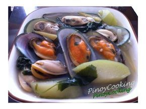Tinolang Tahong (Mussels Soup) | 1 thumb size ginger root cut into strips 4 cloves garlic (minced) 1 medium onion (sliced) 2 medium sayote / chayote ( cut into bite size) 1/2 - 1 cup pepper leaves or spinach 2 Tbsp Fish Sauce (Patis)