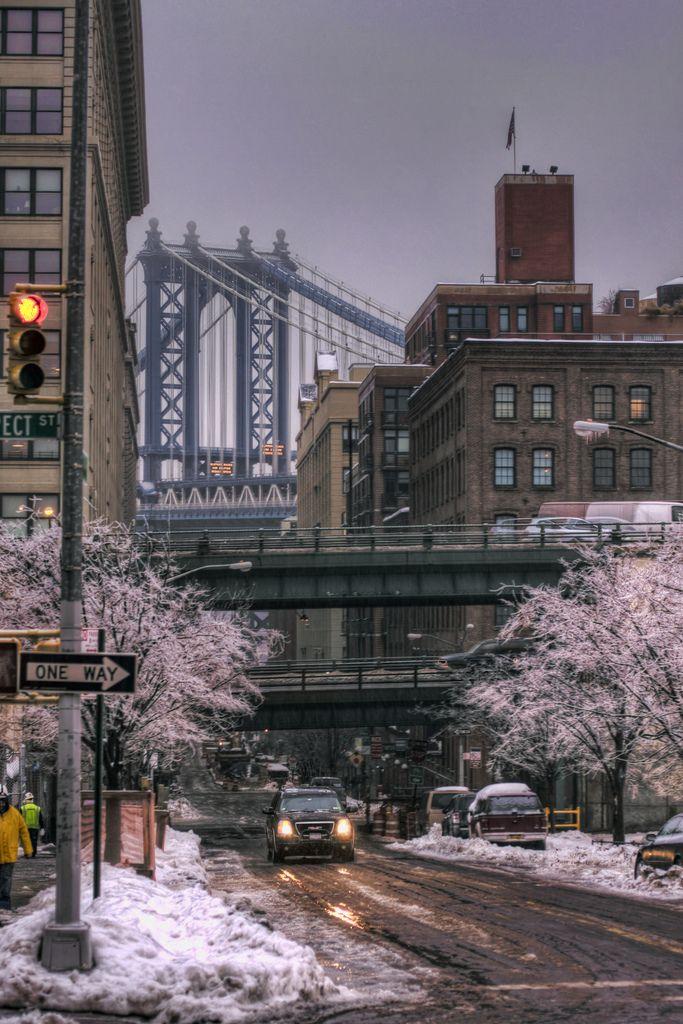 """Snow/Ice/Rain/Washington"" by Josh Derr on Flickr ~ A little bit of everything, looking down Washington Street, New York City"
