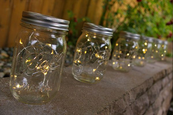 mason jar light 16 oz pint warm white fairy lights battery op set of 12 wedding events. Black Bedroom Furniture Sets. Home Design Ideas