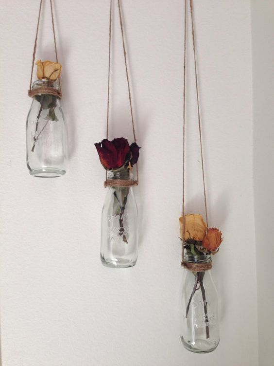Milk Bottle Shabby Chic Home Decor Vase – Set of 3 Handmade in Cute Hand Painted Hummingbird Box