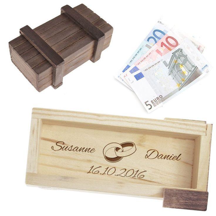 Magische Geschenkbox zur Hochzeit - personalisiert mit Namen und Gravur - Trickkiste für Geldgeschenke