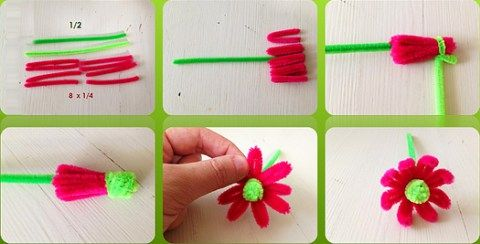 6 steps - Pipe Cleaner Flower