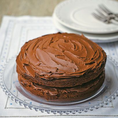 Tana Ramsay's Chocolate Cake  This delicious chocolate fudge cake has a light sponge and a relatively light filling and icing to match, a treat without being too heavy on the waistline.