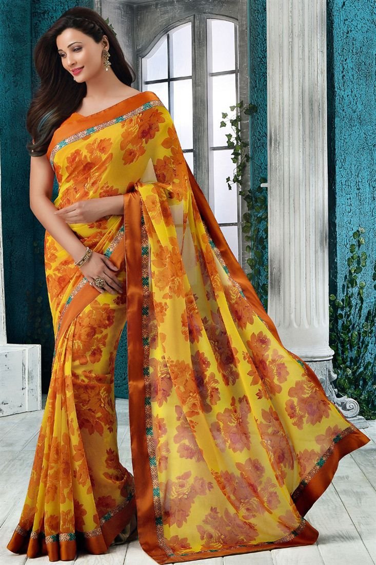 Gorgeous Daisy Shah Yellow Color Printed Saree
