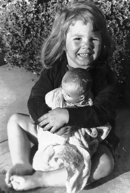 """MY DOLLY & ME~1955-little girl with her Ruthie doll.  Ask yourself...when was the last time you actually saw a little girl, (or a group of little girls) playing with a doll(s)?  Is """"technology"""" destroying our children's childhoods?  Maybe we should ask a little girl, as soon as she finishing """"texting""""!"""