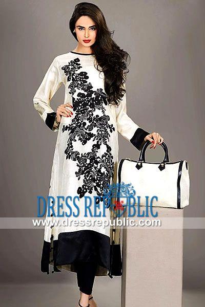 Off White Vilvadi - DR9842, Resham Embroidered Pakistani Dresses 2013, Shalwar Kameez for Ramadan/EID 2013 by www.dressrepublic.com