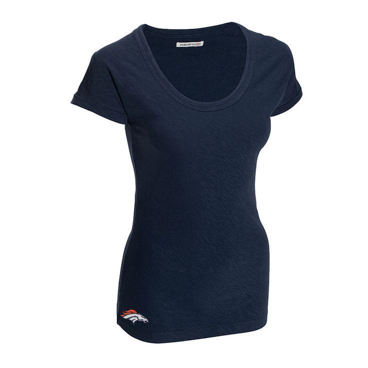 Cutter & Buck Denver Broncos Women's Double Team Slub Scoop Neck T-Shirt - Navy Blue