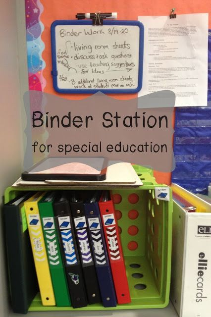 How to set up a binder station for individual work.  This page has a great video that gives lots of details on how to set up this center effectively for your students.  Watch and read more at:  http://www.breezyspecialed.com/2015/07/binder-work-station-for-special.html