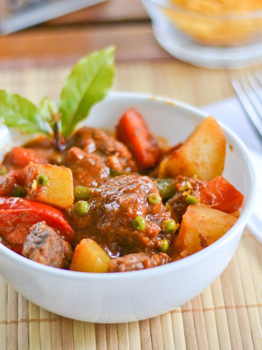 Kaldereta What it is: Hearty meat stew with potatoes, peppers, and liver sauce.  Why it's awesome: The stew is traditionally made with goat, but you can also sub in beef or chicken for those who haven't yet seen the light