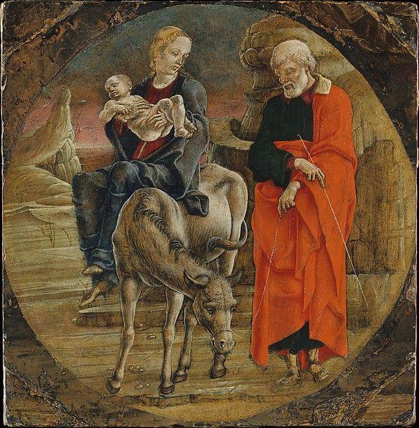 Cosmè Tura - La fuga in Egitto - 1470 - Tempera su tavola - Tempera su tavola, fondo oro - The Metropolitan Museum of Art.