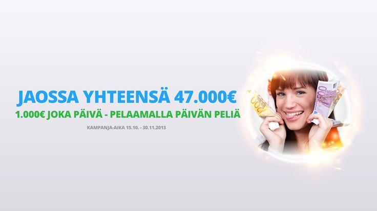 Sivuillamme on käynnissä kampanja jossa jaamme päivittäin 1000€.   Kampanjaan osallistuminen, ja voittaminen on todella helppoa.   Tarkista päivän peli: www.netticasino.com/pelikalenteri , talleta ja lähde pelaamaan niin olet automaattisesti mukana arvonnassa!