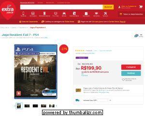 [Extra.com.br] Jogo Resident Evil 7 - PS4 - de R$ 249,99 por R$ 199,90 (20% de desconto)