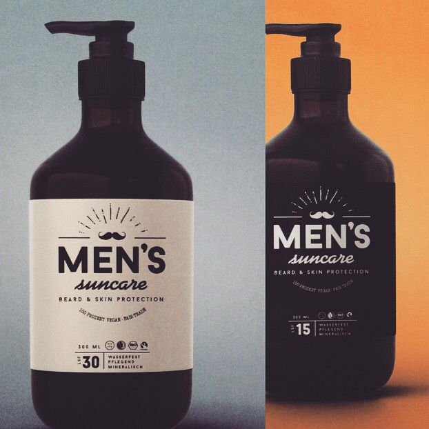 Men sun care. Pump bottle. Fair trade. Sun Protection for skin and beard. Leather. Rough. Hand made. Authentic. Real.