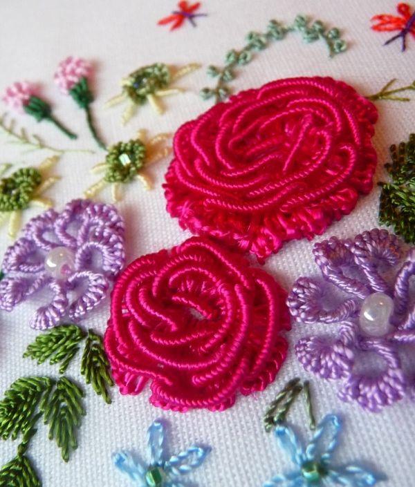 "RosalieWakefield-Millefiori: My ""American Beauty Rose"" in Brazilian Dimensional Embroidery"