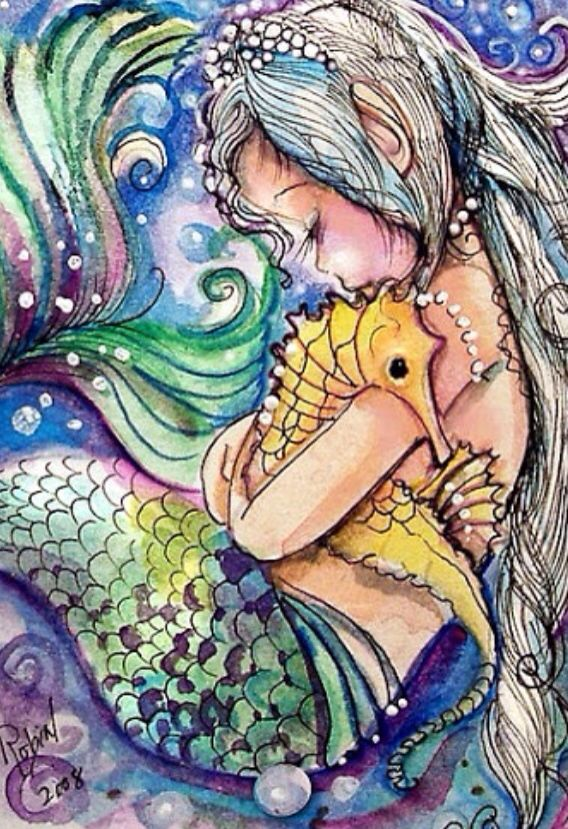 Mermaid-omg this is it, this is what I want, instead she'll be holding a fish-Pisces