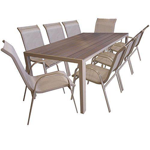 9 Pieces Salon De Jardin Table De Jardin En Polywood Et Aluminium
