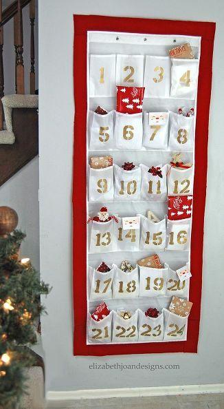 Diy advent calendar from a shoe organizer