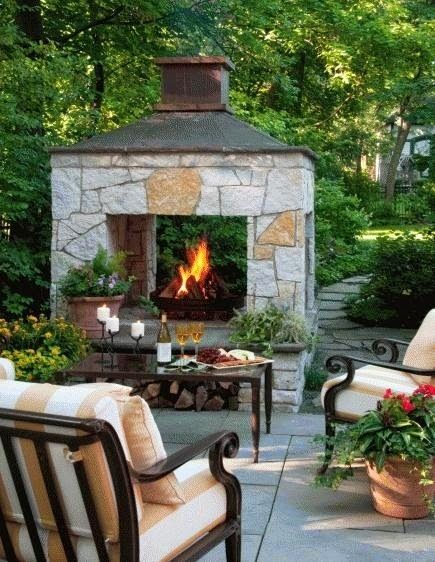 Three-sided fireplace   Gardens Click