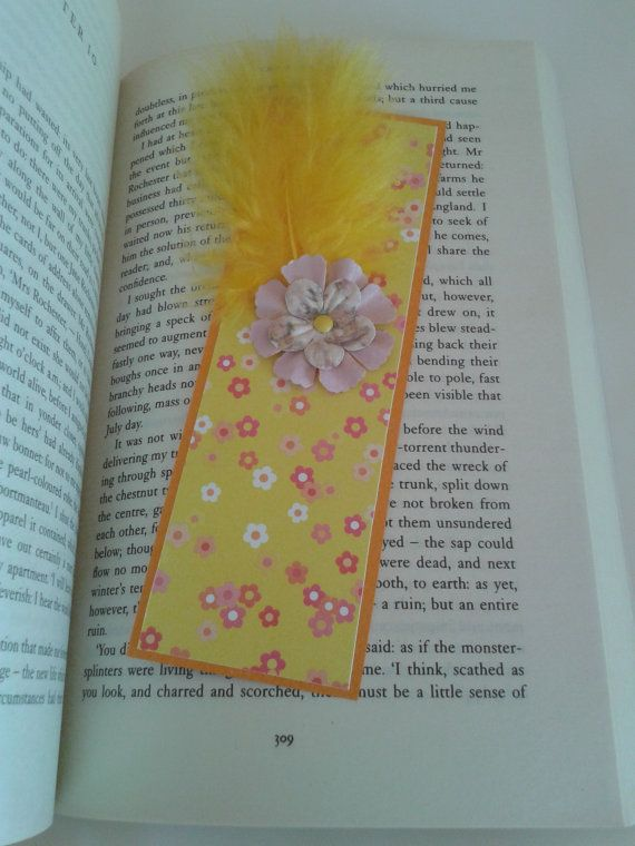 Handmade yellow Easter bookmark with a by Dancingunderarainbow