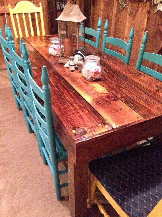 reclaimed wood farmhouse style dining table with chairs by rioco dining table with chairsrestaurant ideasrestaurant - Farmhouse Restaurant Ideas