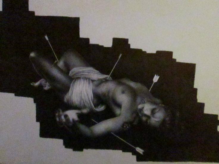 """""""S.SEBASTIANO"""" disegno a BIC su carta 48x33cm Roma 2013"""