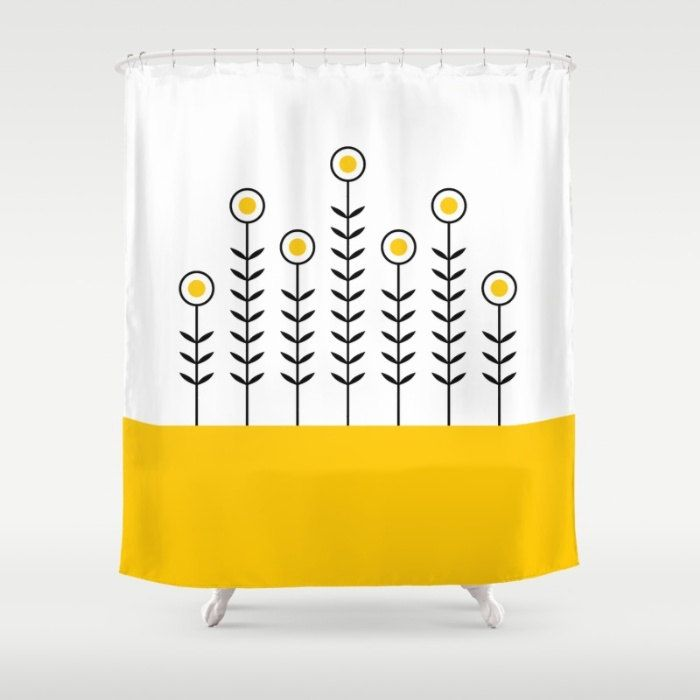36 colours, Spring Shoots Shower Curtain, Scandinavian style, Crocus yellow geometric shower curtains, flower pattern bathroom decor by ThingsThatSing on Etsy