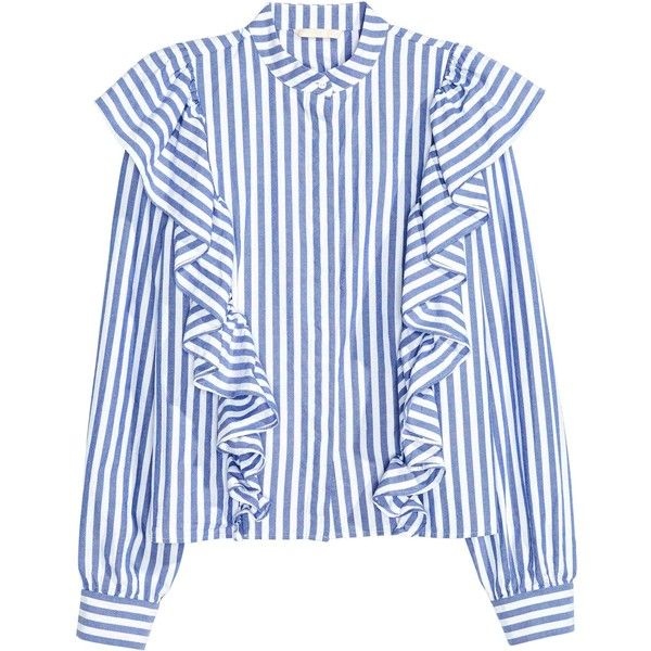 Frilled blouse (€15) ❤ liked on Polyvore featuring tops, blouses, blue top, ruffle sleeve top, ruffle blouse, blue ruffle blouse and frilly blouse