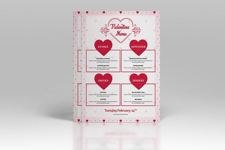 Valentine Menu Template | Valentine Party food menu flyer | Restaurant Menu | Photoshop, Elements and Ms Word Template | Instant Download http://etsy.me/2CJhidC #valentine's #party #menu #template