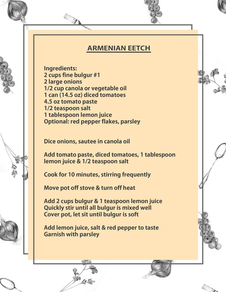 Armenian Eetch recipe. I wanna make this but mix it up with some tabbouleh herbs and see what would happen.