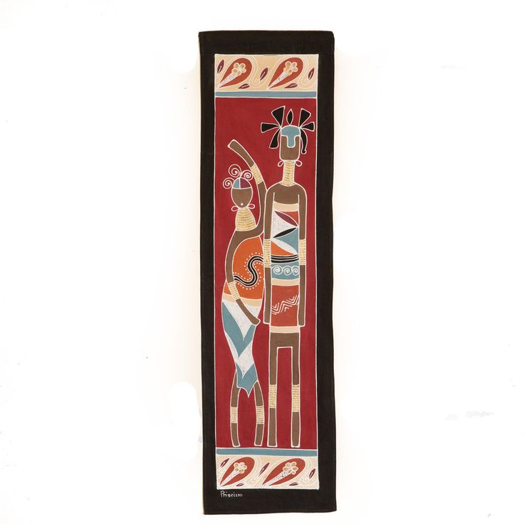 HHWall Hangings ~ Ladies and Warriors Designs Small rectangle $35.00 USD Multi-purpose wall hanging depicting athletic warriors and graceful ladies in striking terracotta and red colourway. Hemmed all around with full-width pocket along top edge for hanging pole. Can also be used as a Tablecloth or throw.